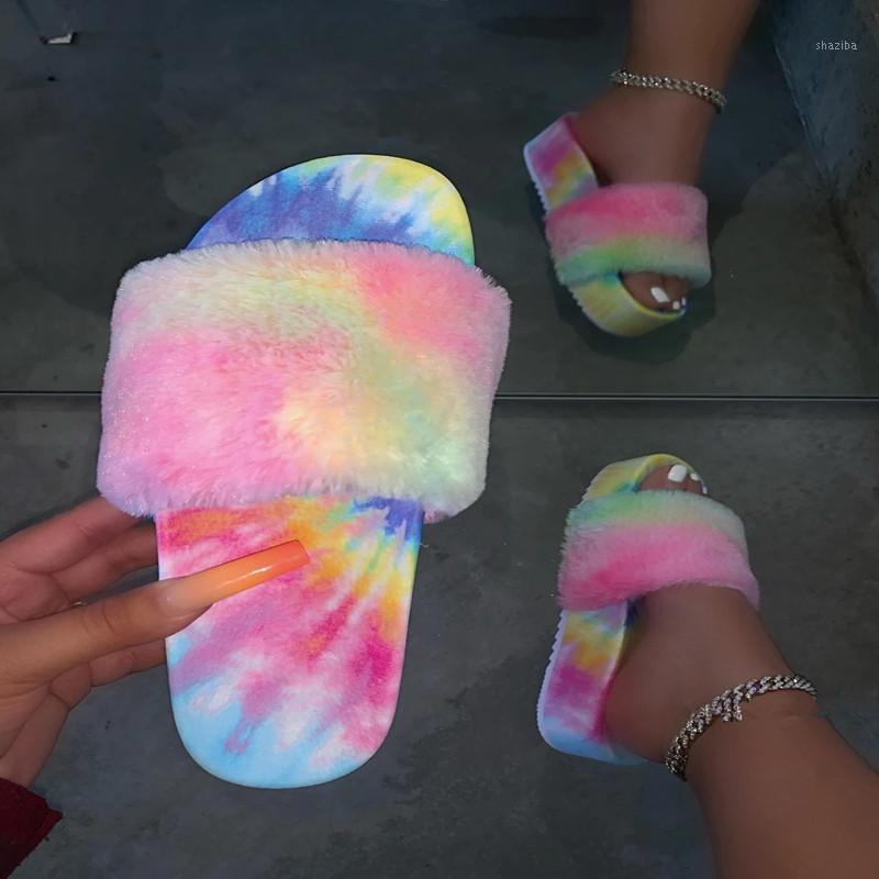 Diapositives à fourrure pour femmes Sandales à fourrure à fourrure pour femme Chaussures d'intérieur Chaussures moelleuses moelleuses avec pantoufles Flip Flips 2020 Fashion1