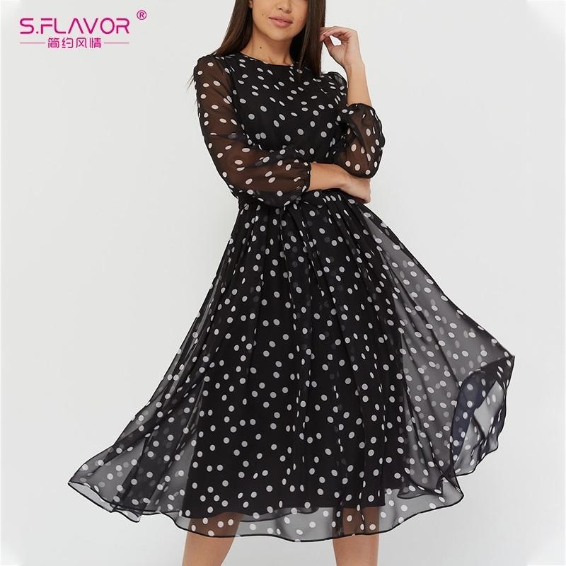 S.Flavor vintage dot stampa donne vestito in chiffon autunno inverno moda casual dress boho spiaggia spiaggia a-line vestidos 201030