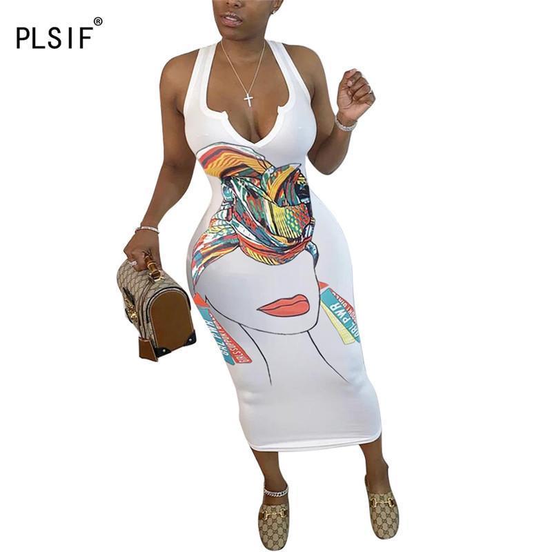 Повседневные платья прибывают женское сексуальное печать летние без рукавов тонкий корпус платье женские вечеринки клуб одежды