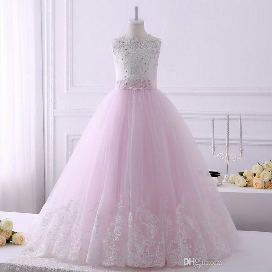 2021 Lunghezza Foto reali Lace Appliques Flower Girl Dresses Con archi treno lungo senza maniche pavimento Partito abito da sposa su ordine