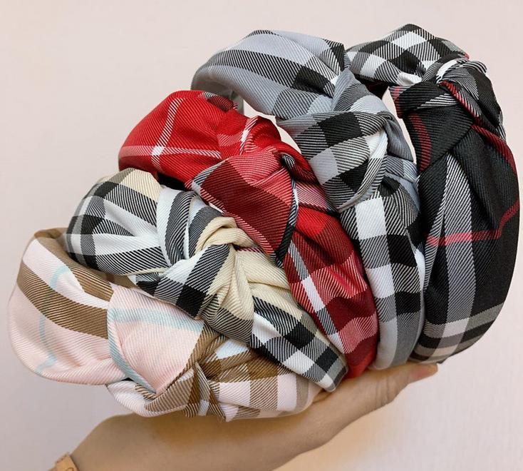 Geniş Kenar Izgara Baskı Kafa Bayan Saç Hoop Charm Kadın Moda Üst Düğümlü Kafa Bezi Kafa Elastik Çapraz Kafa Saç Aksesuarları Giyim