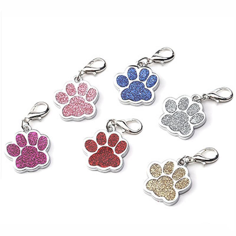 Personale bello Dog Tag inciso Dog Pet ID Nome collare Tag Pendant Pet Accessories zampa glitter personalizzati Dog Tag AHA1762