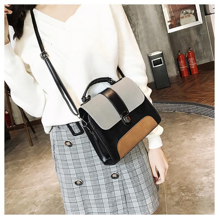 Contraste couleur Sacs Crossbody cuir pour femmes 2019 Sac Vintage Fashion Simple épaule Messenger Ladies Cross Body Bag Q1106