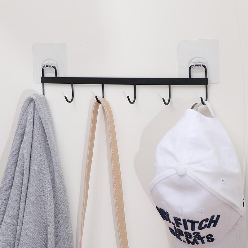 Kitchen Hook Iron Viscose Seamless Even Hook Bathroom Hanging Towel Racks Simple Wall Rack