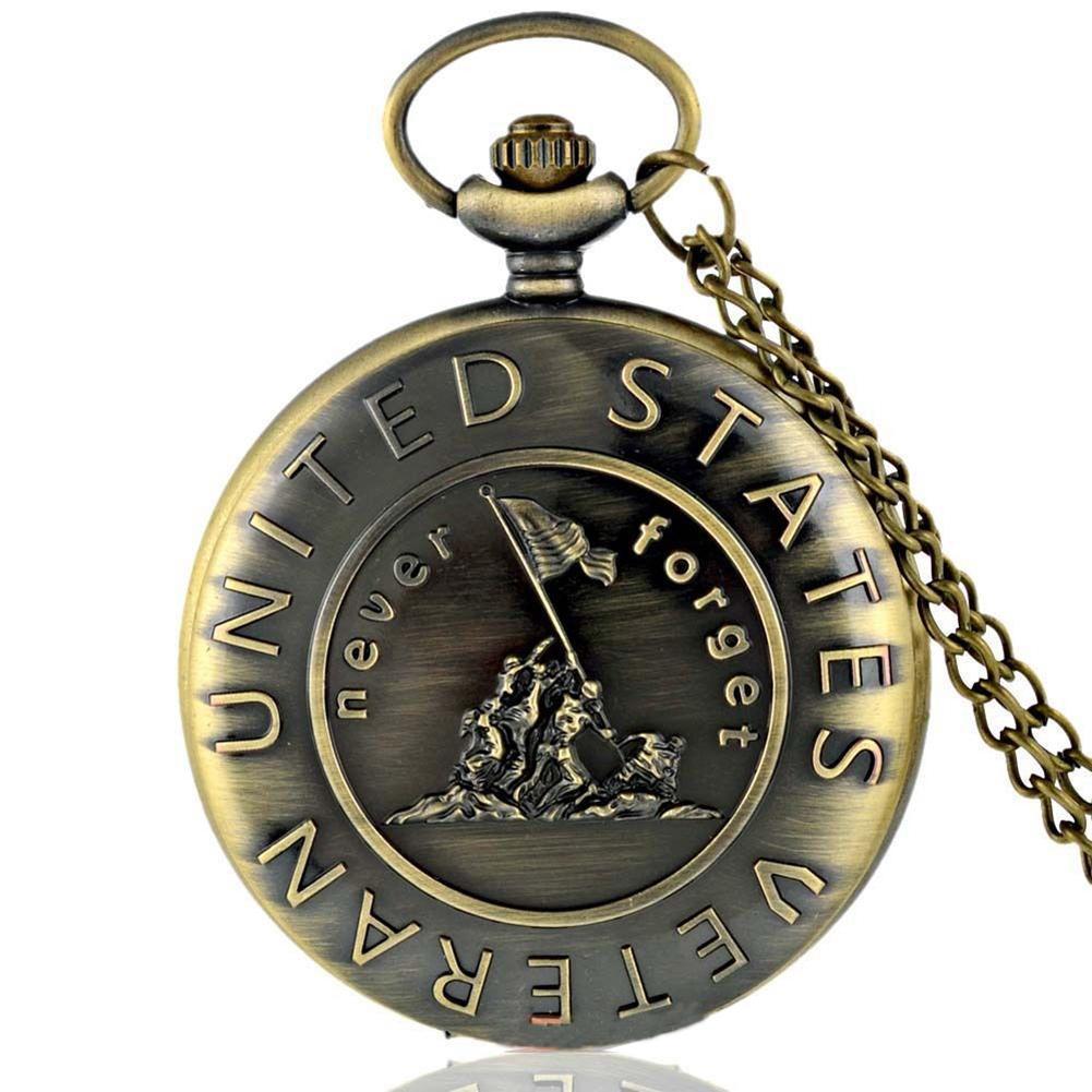 새로운 빈티지 미국의 베테랑 육군 청동 회중 시계 석영 목걸이 펜던트 골동품 선물