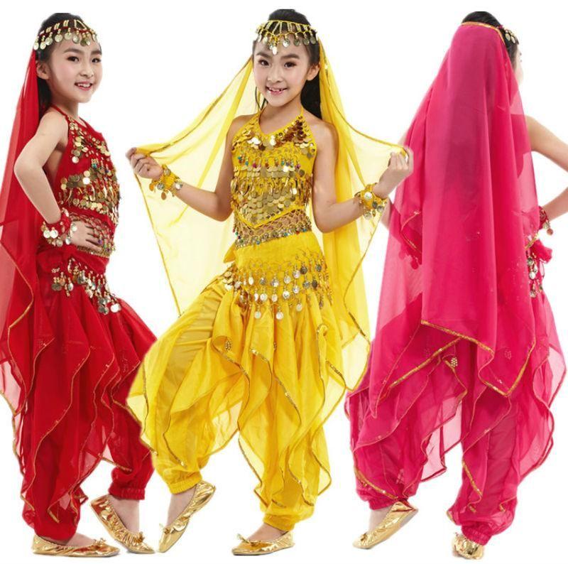 5pcs / set danse du ventre pour enfants danse du ventre Costume Costumes de danse orientale fille Vêtements Costumes pour les enfants