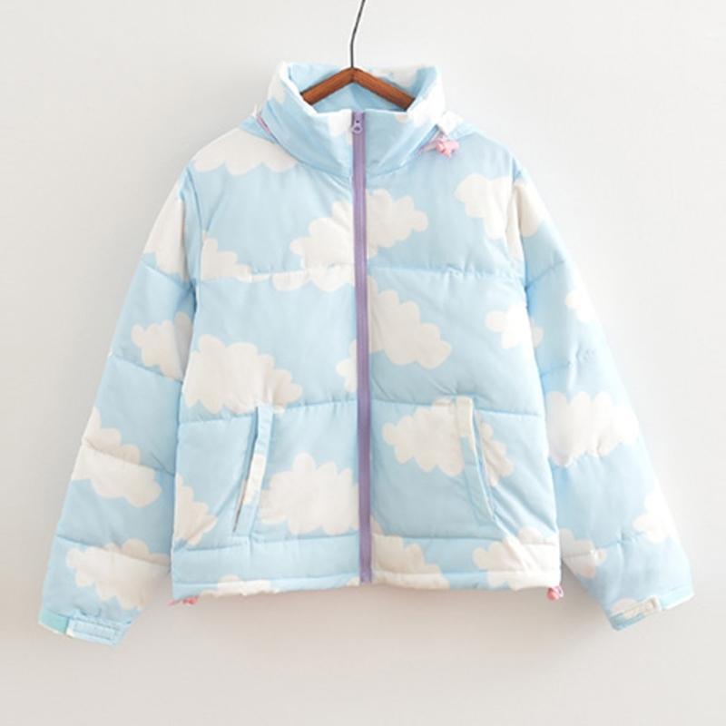 Cute Sweet Women Winter Jackets Hooded Cotton Padded Coats Overcoats Thicken Outwear High Quality Cloud Print Warm Parkas Coat 201104