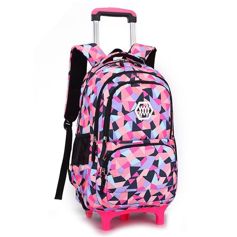 Ziranyu Removível crianças bolsas de escola com 2/6 rodas para meninas trolley mochila crianças saco de rodas bookbag bagagem de viagem y200706