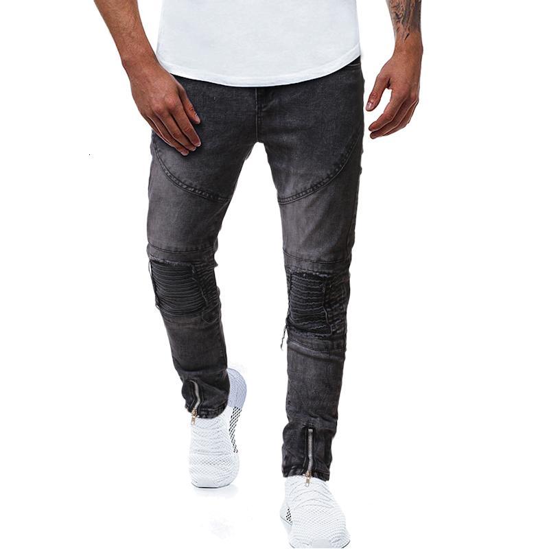 Primavera y otoño nuevo tamaño europeo de alta calidad para hombres plisado plisado con cremallera Slim Hip Hop Denim Jeans para hombre