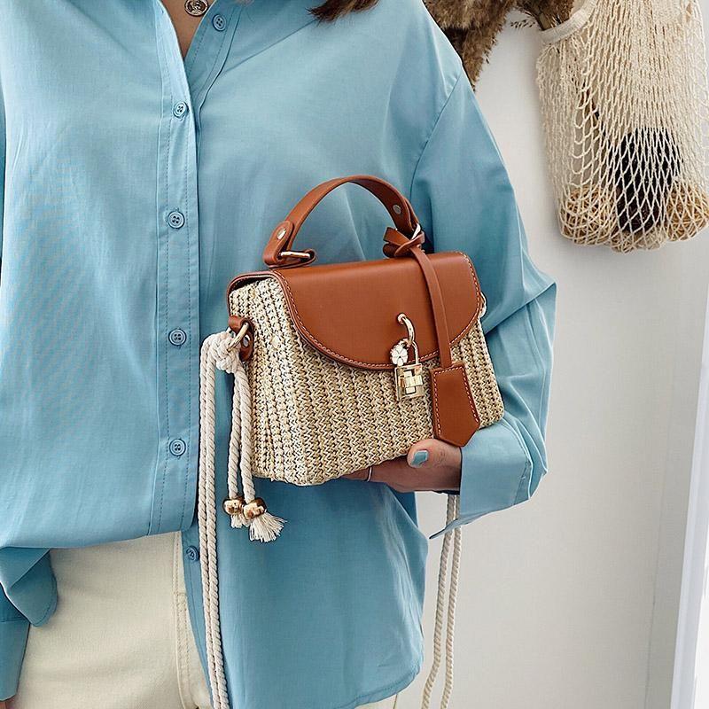Lady Rattan Yaz Çantalar Çanta Tasarımcı Moda Küçük Hasır Saman Çanta Çanta Kadınlar Plaj Dokuma Crossbody Lüks Omuz Amngh