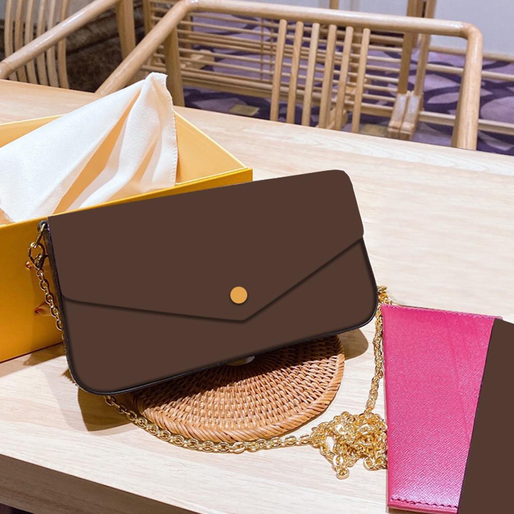2020 Novo Designer Mini Bolsas De Ombro Mulheres Cadeia Mini Crossbody Bag Carta Floral Couro Genuíno de Alta Qualidade Carteira bolsas
