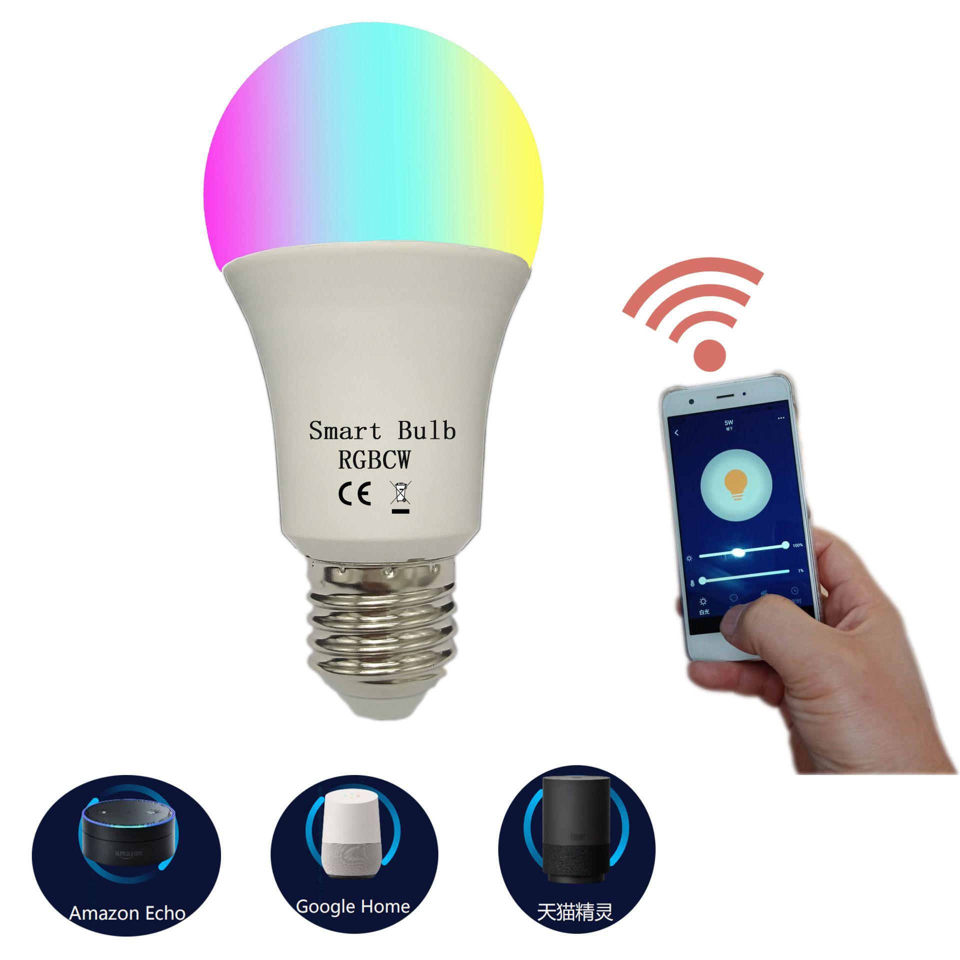 E27 / E26 100-265V LED RGB WiFi Controllo Bulbs 5050 Chip a LED per la decorazione domestica Lampada da illuminazione