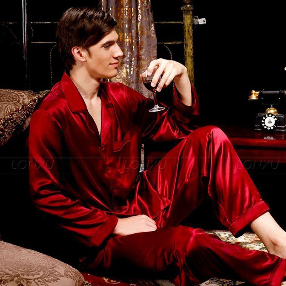Mens Silk Satin-Pyjamas Set Pyjamas Set Pjs Nachtwäsche Lounge S, M, L, XL, 2XL, 3XL, 4XL plus Size__Fits All Season 201012