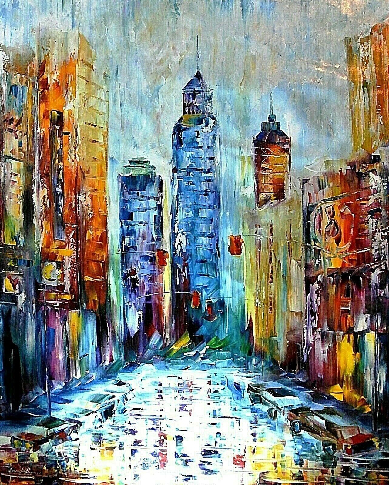 """Açık Tuval Wall Art Canvas Resimler 201.005 Boyama Leonid Afremov """"Bir Big City"""" Ev Dekorasyonu El Sanatları / HD Baskı Yağ"""