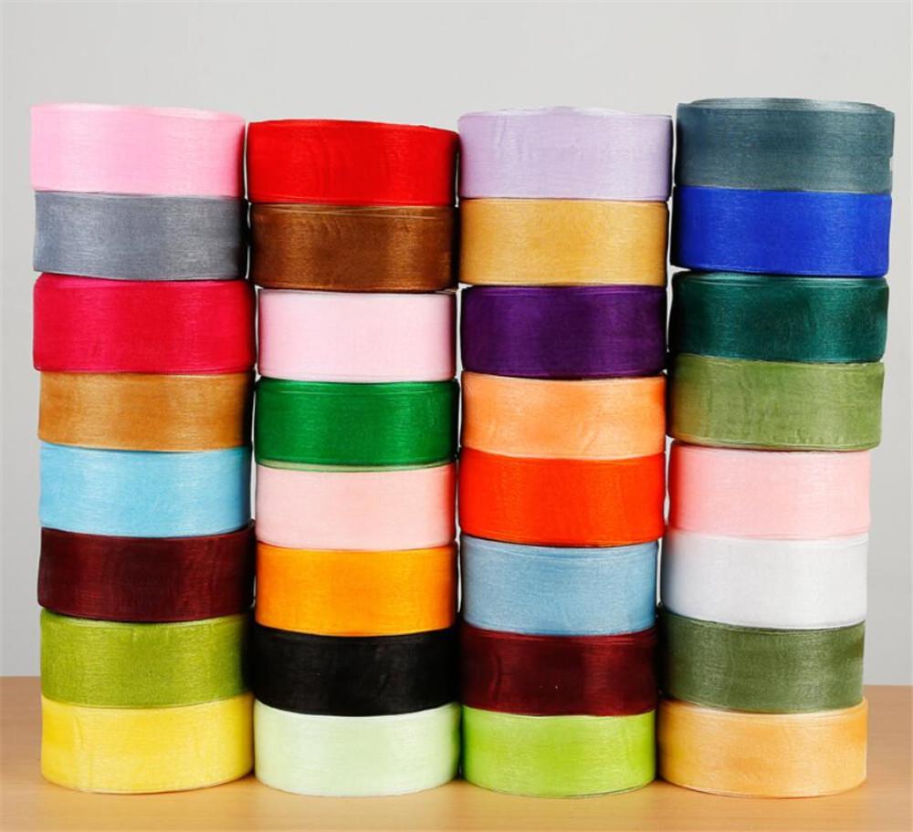 4cm x 45m Fest Farbe Organza Tüll Bänder Rolle Geschenkverpackung Verpackung DIY Organza-Band-Partei-Weihnachtsdekoration