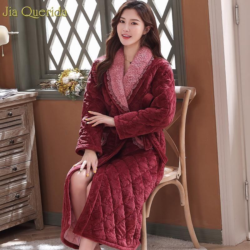 İç Robe Kış Bayan Uzun Abiye Şık Ev Robe Artı boyutu Kalın 3 Katman Destekli Termal Kimono Bornoz Kadınlar Kış Yeni