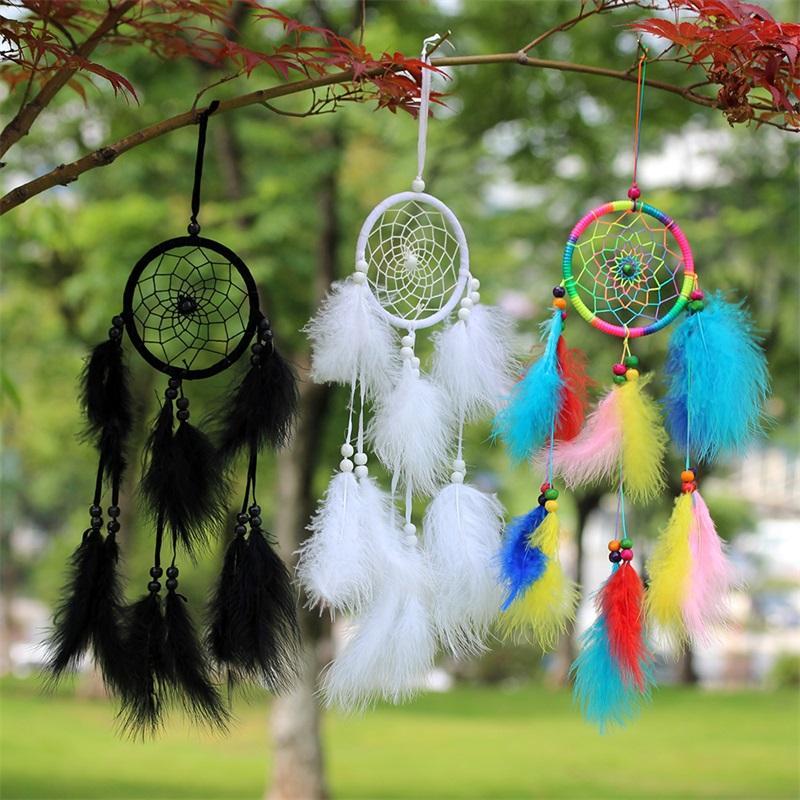 Home Furnishing Dream Catcher Net Originalidade Estudo da parede da sala Hanging Wind Chime Natural Fluff Pena colorida Handmade Decorar 5 5SJ M2