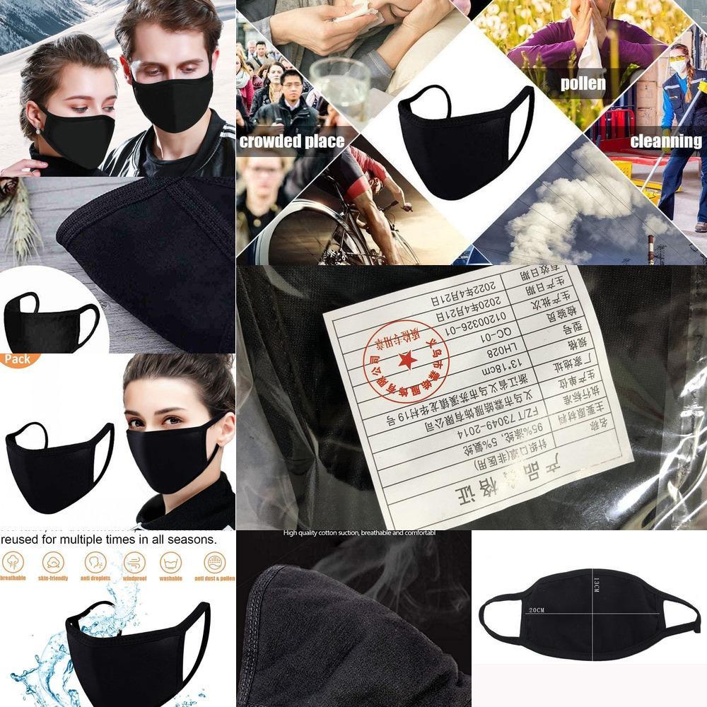 Muffle ajustável anti máscara facial de poeira, máscara da máscara da boca do algodão preto para o curso de camping do ciclismo, algodão lavável pano de pano reusável MAZ