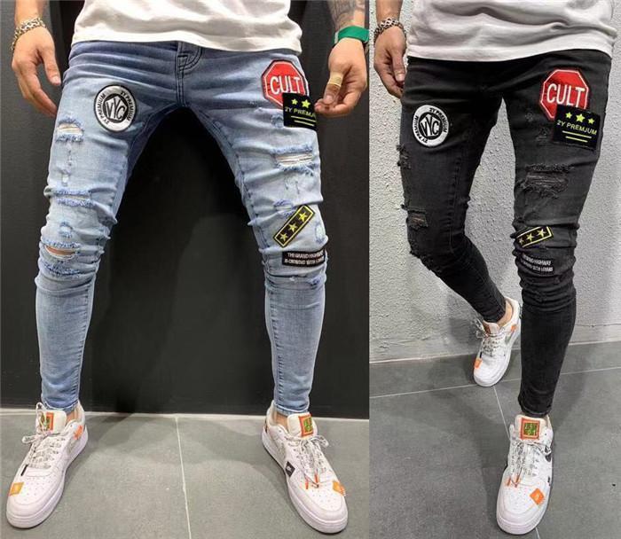 Erkek kot nakış etiketi sıska hommes yırtık pantalones hombre para kot kalem pantolon adam jeanssy