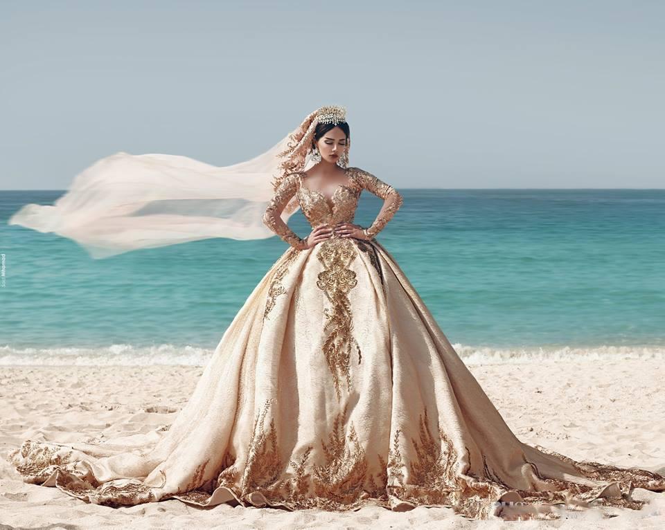 Gold Satin Ball Gown Beach Long Sleeve Princess Muslim Wedding Dress With Beads Cheap Vintage Gothic Wedding Bridal Gowns Dress