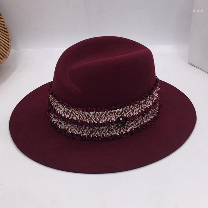 Panamá Fedoras a nova Inglaterra lã chapéu tampa tassel em forma de s enulgando personalidade retro moda fashionista senhoras chapéu1