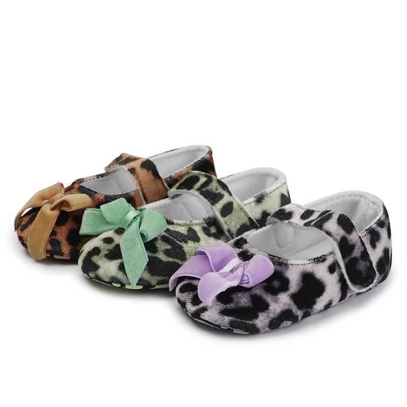 New Princess Party Bow First Walkers Baby Toddler Cotton Tessuto Baby Mocassini Girls Maria Jane Leopard Sole Scarpe