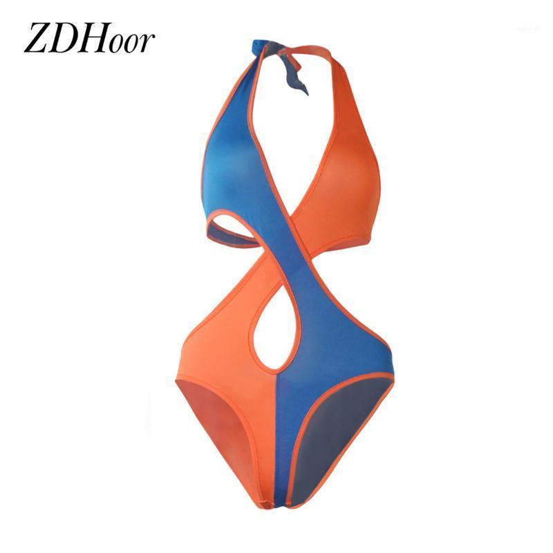 New Summer Swimwear Womens Fashion One-piece Color Block Halter Neck Crisscross Front Backless Monikini Swimsuit Beachwea1