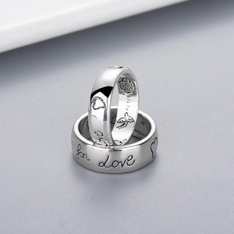 النساء فتاة زهرة الطيور نمط خاتم مع ختم أعمى للحب إلكتروني حلقة هدية للحب زوجين جودة عالية مجوهرات