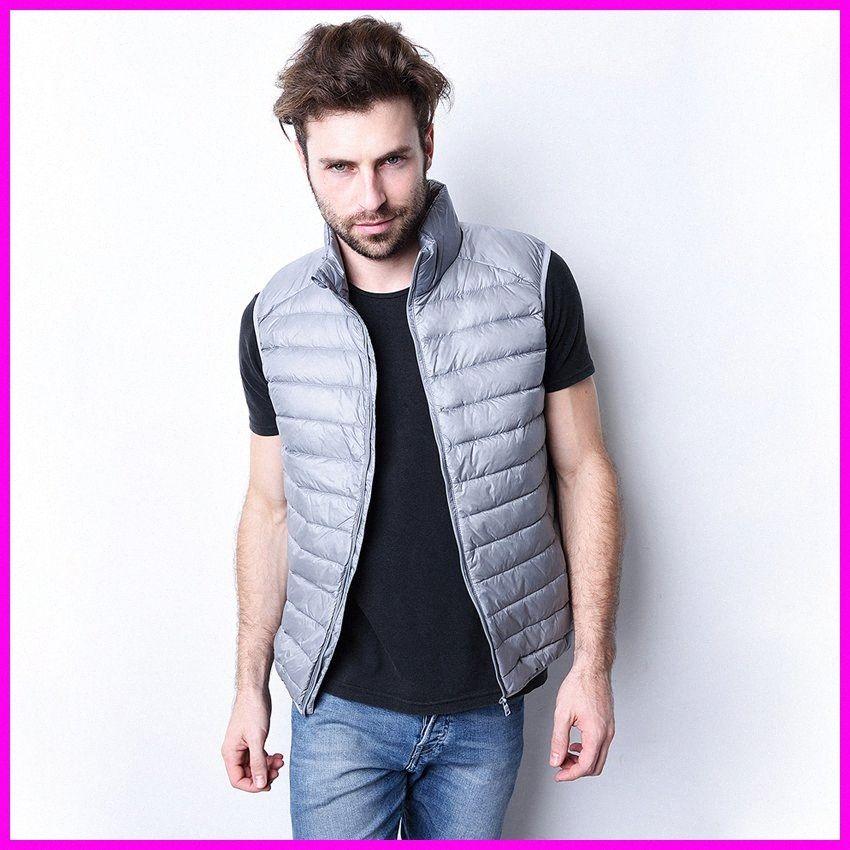 Men Winter Down Vest Ultra Light Down Sleeveless Jacket Mens Brand 90% white Duck Vest xd3i#