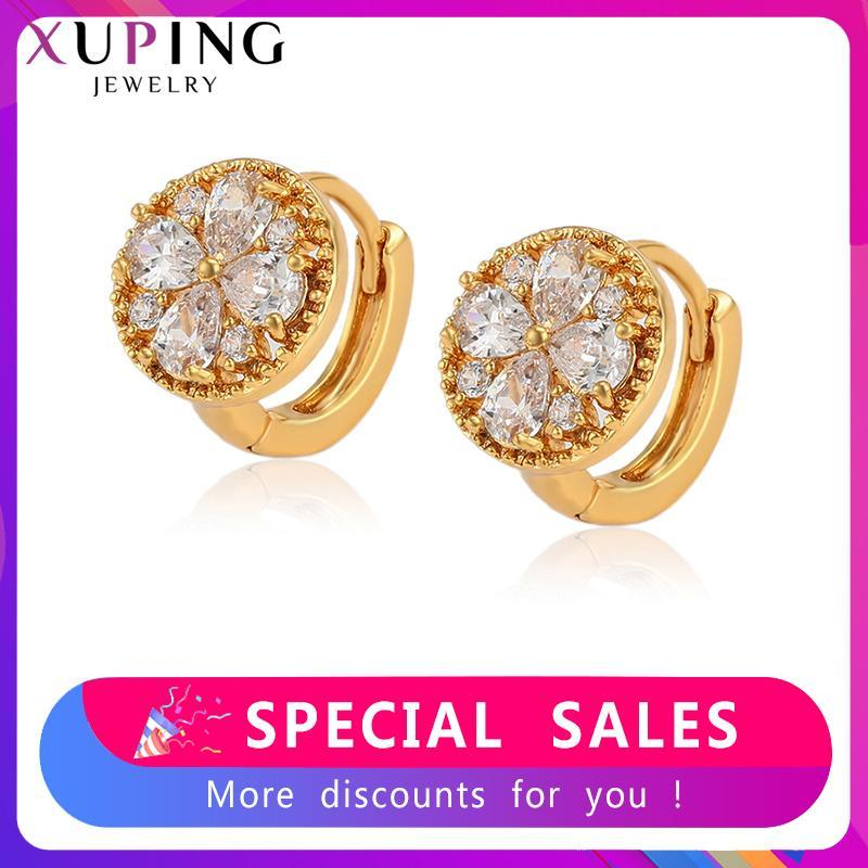 Xuping style européen et américain Boucles d'oreilles vintage élégant Hoops pour les femmes Tempérament style Party Bijoux Cadeaux 80298