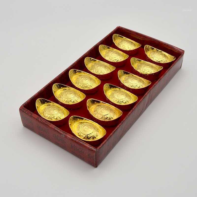 الكائنات الزخرفية التماثيل 12 قطعة التميمة الحرف المعدنية فنغ شوي الميمون محظوظ المال سبيكة الذهب لتزوير شيء العتيقة أيسر المنزل