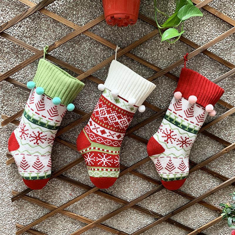 Быстрая перевозка груза 2020 новые рождественские украшения Мода Рождество носки подарочные пакеты Family Вязаная жаккарда рождественские украшения носки F4402