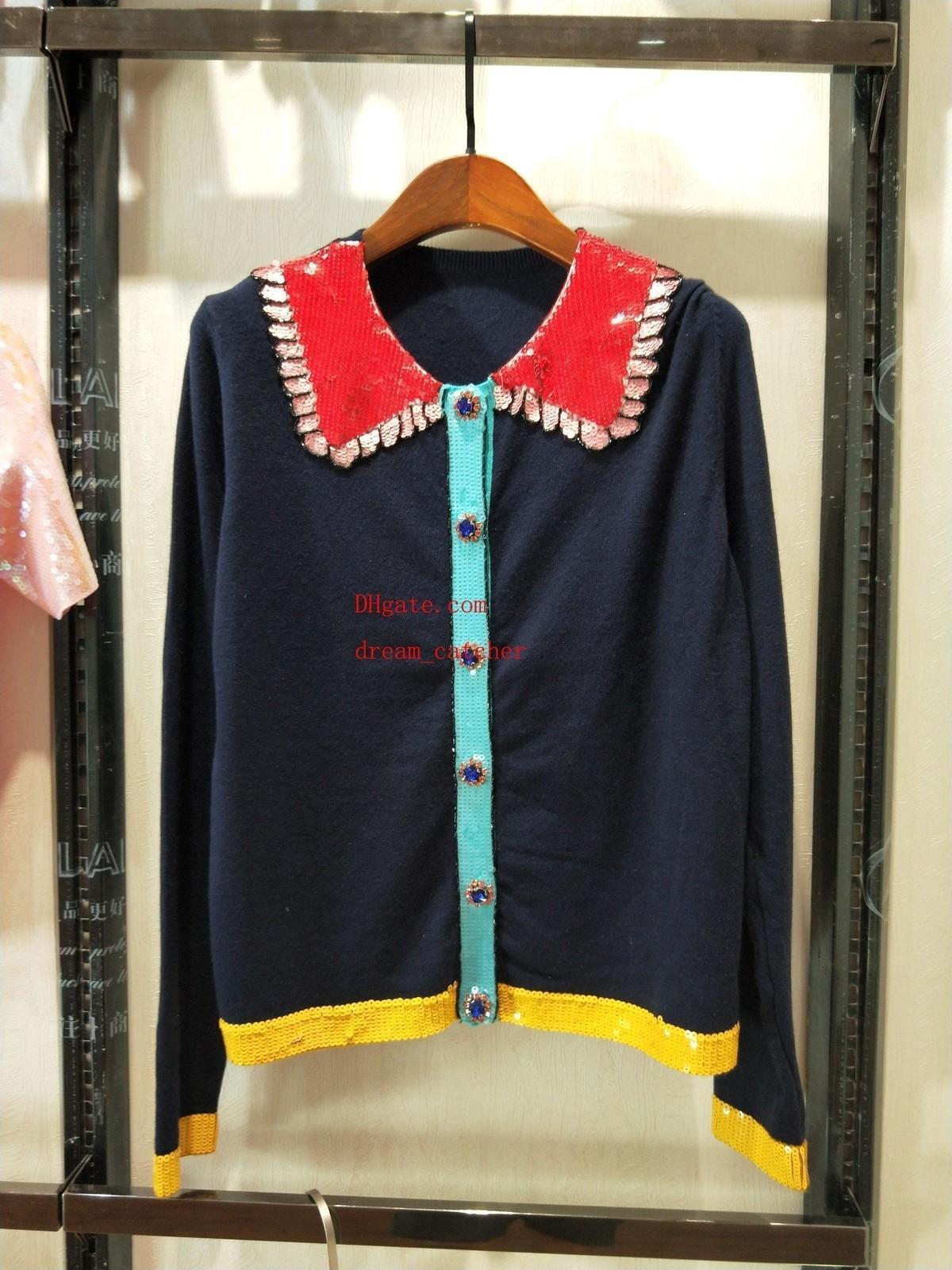 2019 бренд моды женщин свитера контрастные отвороты кнопки свитер женщин топы потерять дышащие вязать свитер качества верхней женской одежды TS-5