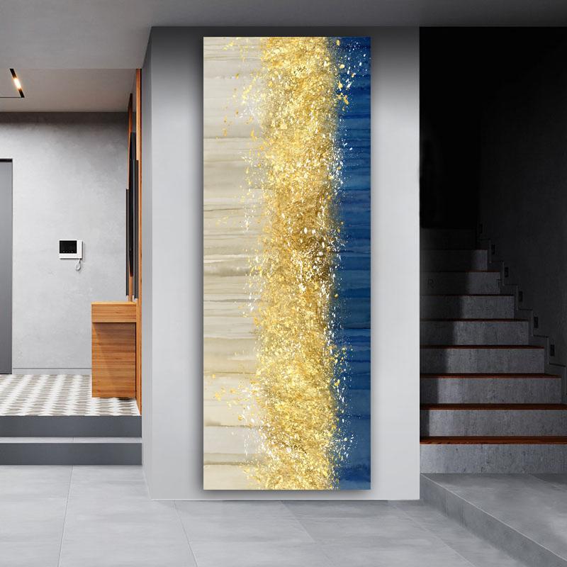 Wangart GRAND ABSUM Golden Toile Affiche Blue Paysage Art Mur Art Peinture Salon Mur Suspendante Art Moderne Art Imprimé Peint