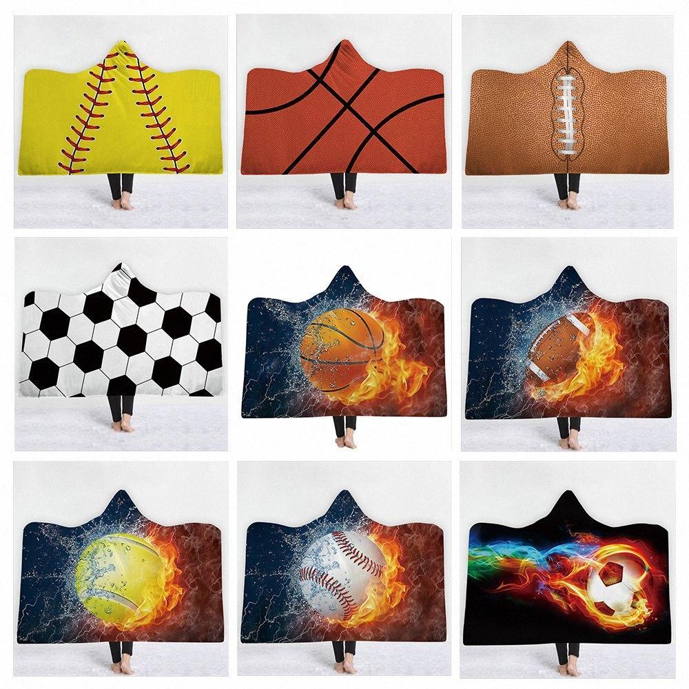 3D imprimé Sport Balle ou ballon Imprimer Blanket à capuche pour adultes Wearable à capuche en laine Couvertures Couvertures Throw doux Fluffy xrIX #