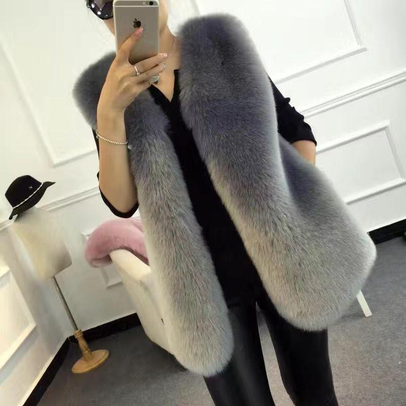 Kadınların büyük boy kolsuz ceket kadın sonbahar sahte kat tilki kürkü tankı uzun yelek sıcak vizon yelek üstleri