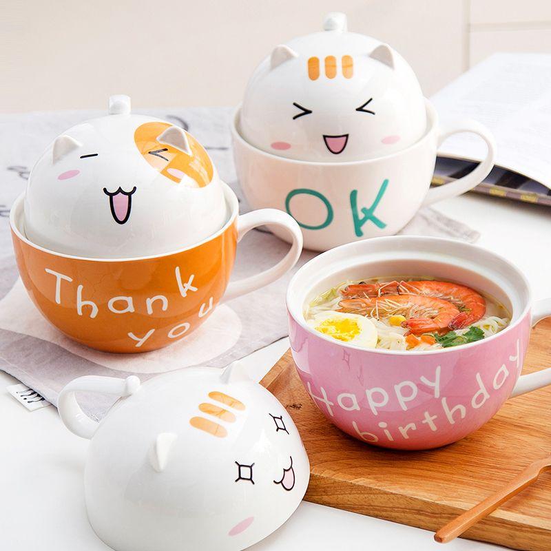 Kawaii Motif Chat en céramique instantanée Ramen Bowl avec couvercle mignon de nouilles Salade de fruits Bol à soupe anti-échaudage Cuisine Vaisselle C1108