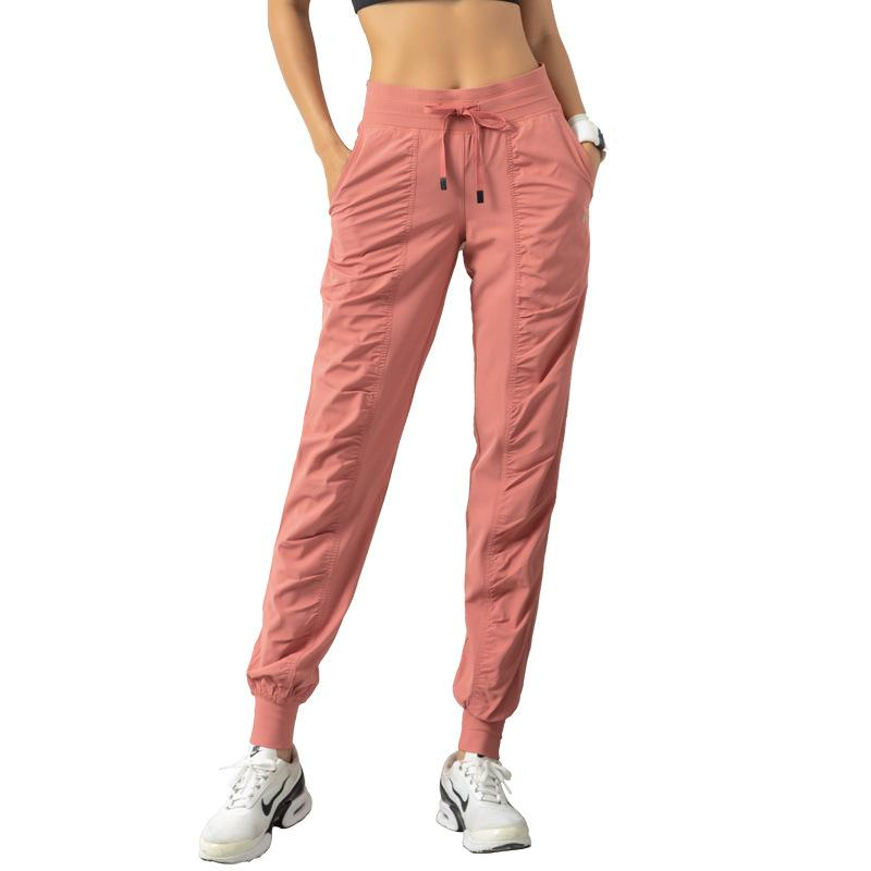 pantalones de yoga del lazo corredores de cintura elástica Flojo ropa de gimnasia transpirable pantalones de las mujeres de los deportes que se ejecutan medias totales de la aptitud ocasional del bolsillo