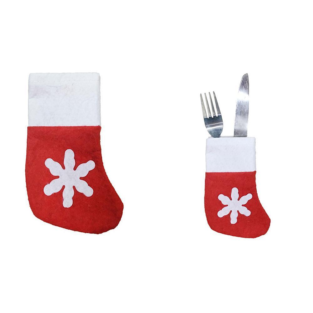 Mini Weihnachten hängende Socken nette Süßigkeit Geschenkbeutel weißen Schneeflocken Weihnachtsstrumpf für Weihnachtsbaum-Dekor-Anhänger DWA2022