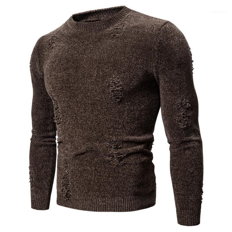 Мужская зимняя теплая круглые шеи тонкий свитер Топы трикотажные Длинные рукава сплошной пуловер плюс размер повседневной комфортной