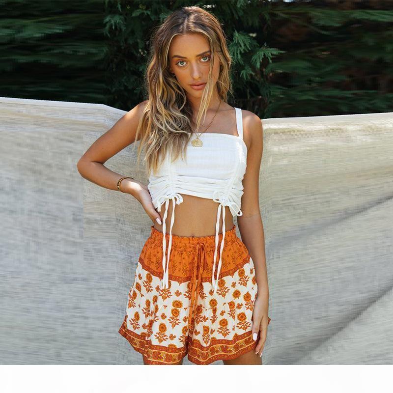 Mulheres Primavera Summer Bohemian Shorts Rayon Algodão Floral Impressão Elástica Cintura Loose Beach Shorts Fashion Casual Seaside Shorts 2020