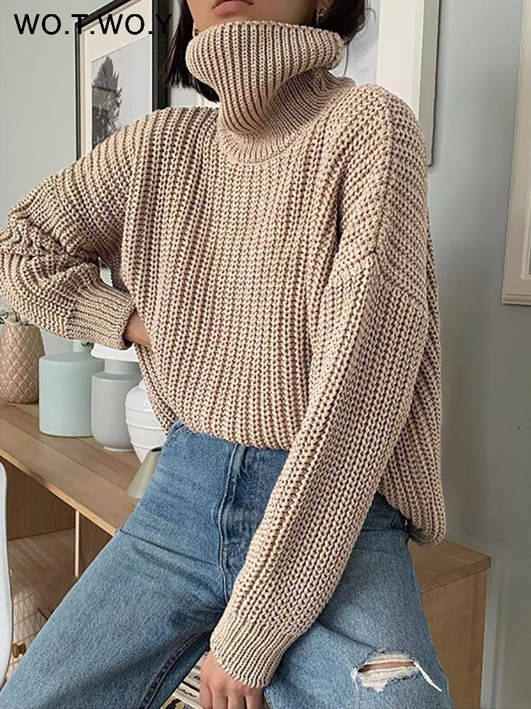 WOTWOY Herbst-Winter-Strickrollkragenpullover Frauen starke lange Maxi-Pullover Frauen-feste Cashmere-Pullover Korean Tops 201012