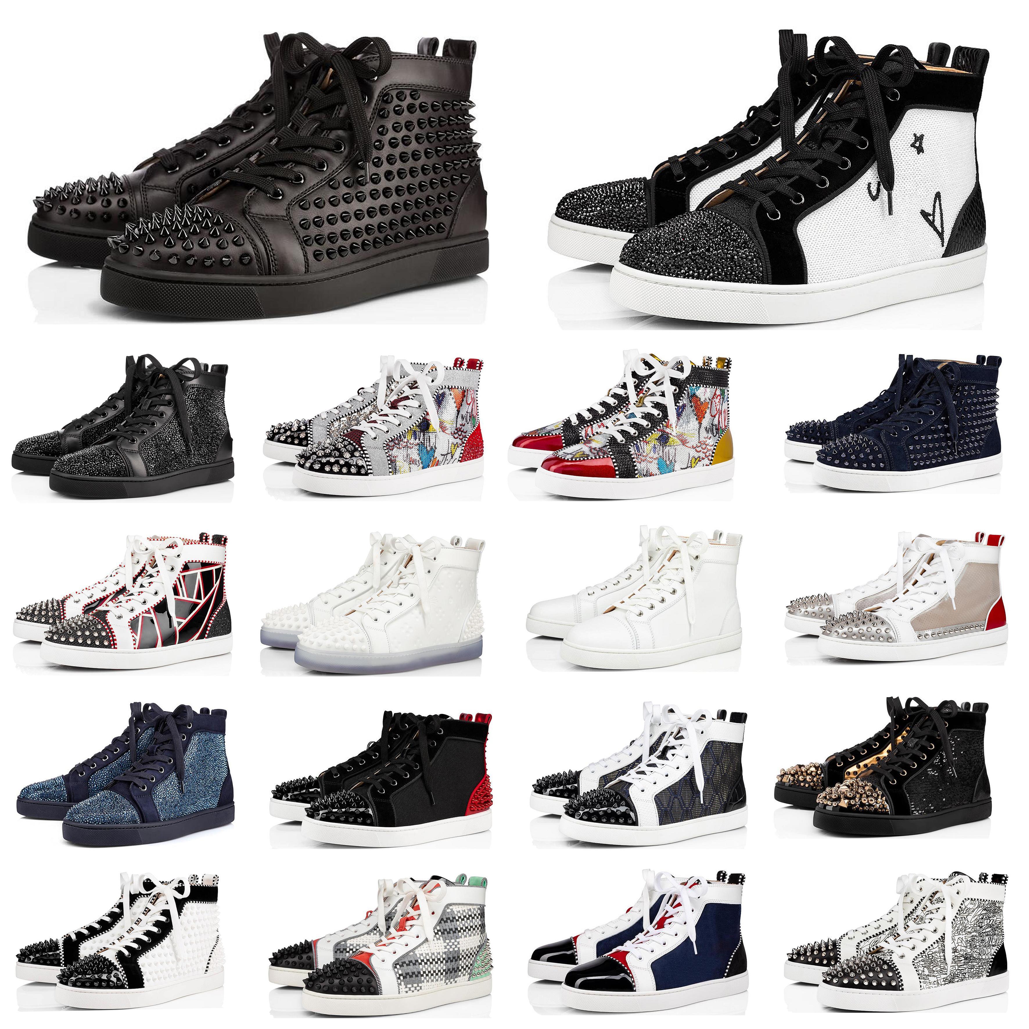 Les nouvelles chaussures de queue rouge élevé top sneakers femmes coupe-bas en cuir Triple pailleté gris blanc noir en daim chaussures casual plat mode