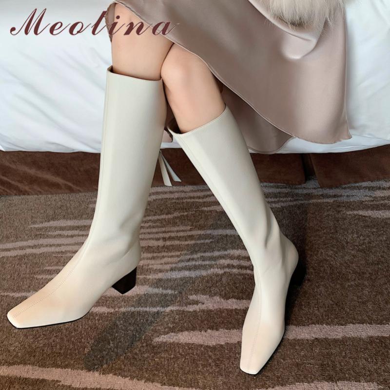 Meotina naturel en cuir véritable talon haut de longues bottes de femmes chausse la place Talons Bloc Toe Zip genou Mode haut Bottes Automne Noir