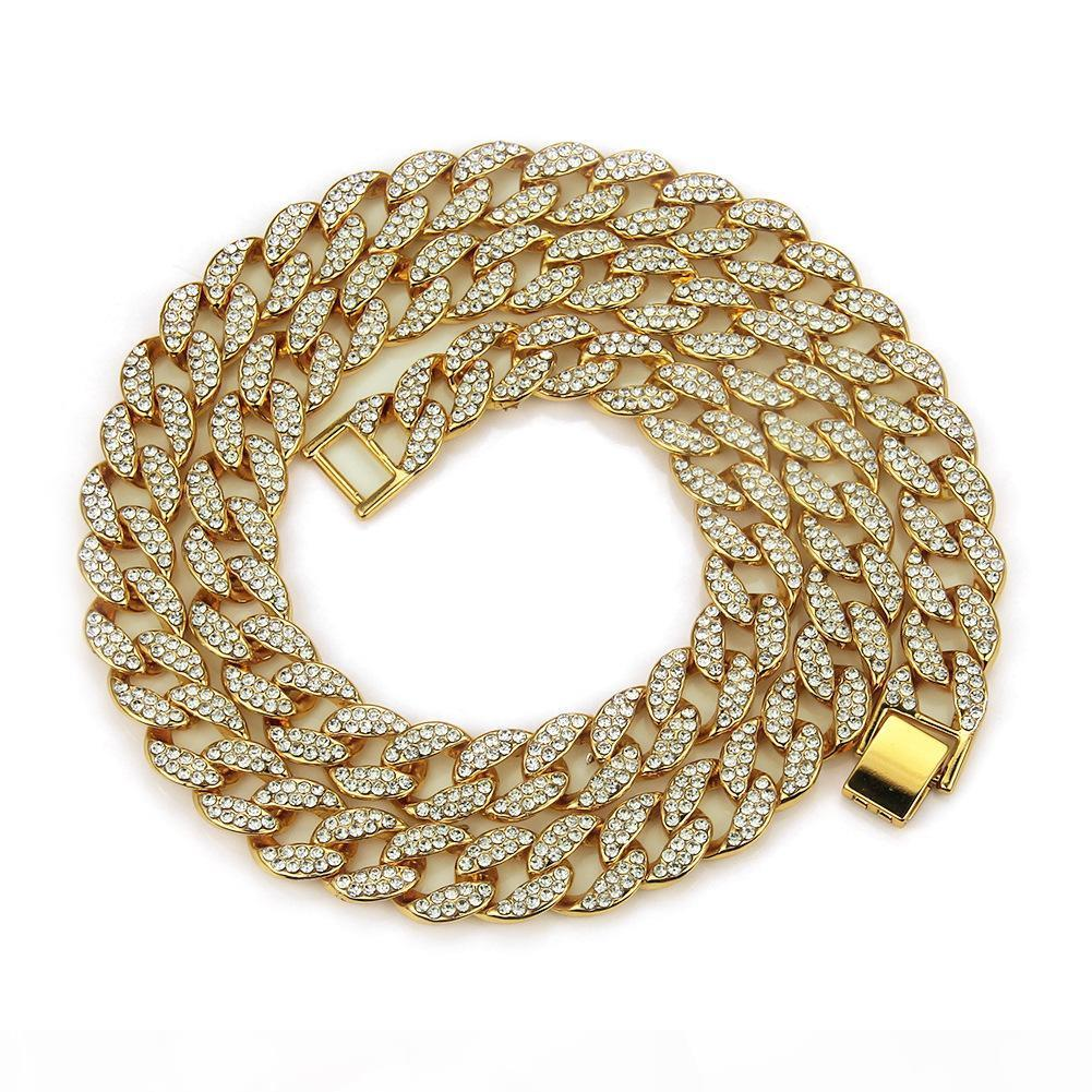 Hip Hop Mens Gold Full Diamond Cuban Link Chain Necklace 15mm personalized Iced Out Bling Curb Choker Chains Miami Rapper Jewelry for Men