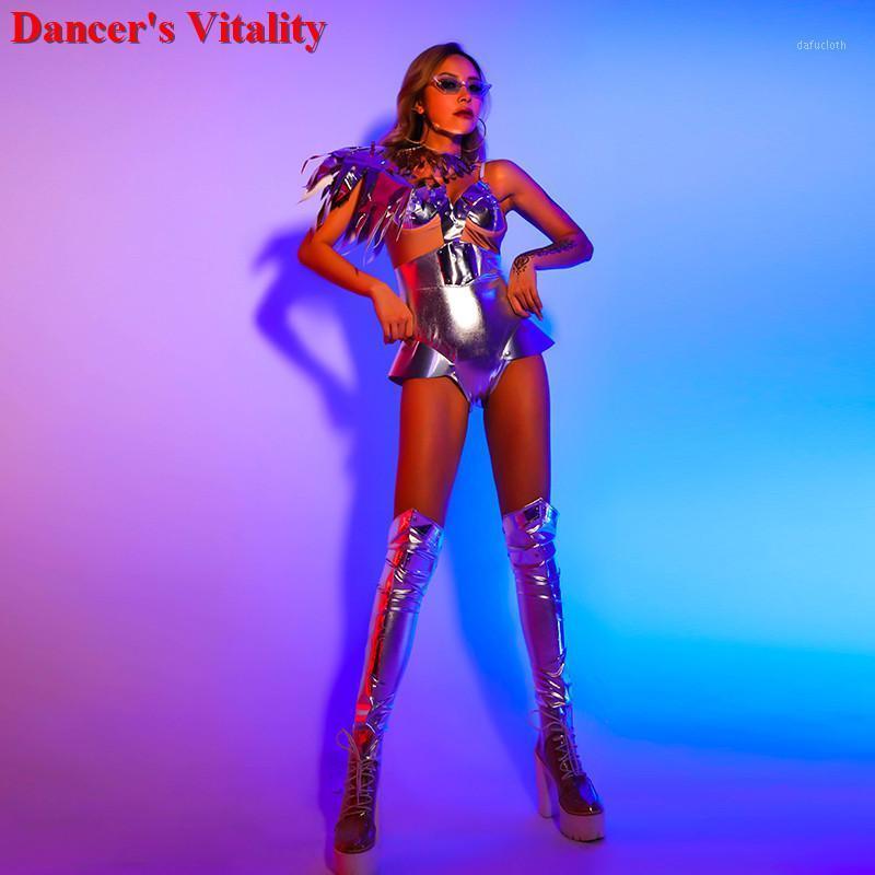 Sparkly Silver SPANDEX танец костюм кисточка костюм вечеринка сцена носить танцульки шоу Sexy Polle DS сексуальный комбинезон 20201
