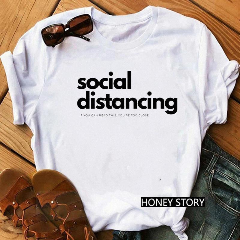 Zogankin Soziale Distanzierung Wenn Sie dies lesen können, sind Sie zu eng Brief drucken lustige T-shirts frauen mode tees humor tops tee # jb2z