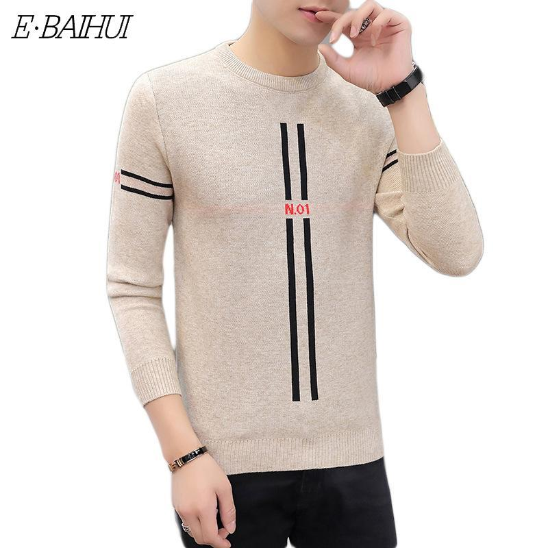 Men's Sweaters E-BAIHUI Round Neck Sweater Autumn And Winter Korean Version Of All-match Knit Bottoming Shirt