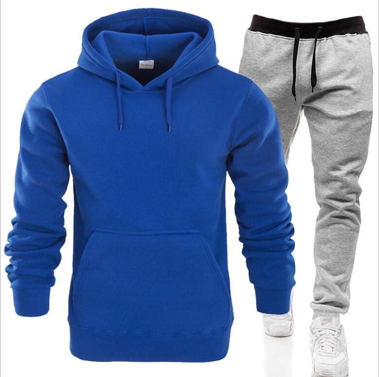 2021 Casual Giyim erkek Kazaklar Kazak Pamuk Erkekler Tracksuits Hoodie İki Adet + Pantolon Spor Gömlek Güz Kış Parça Takım Elbise Siyah