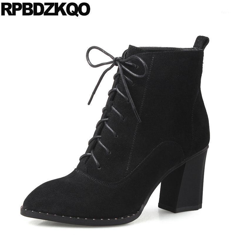 Boots Lace Up Черные лодыжки короткие туфли замшевые коренастые натуральные кожи роскошные пинетки заклепки закрепленные ноги боевые шпильки бренд женщин1